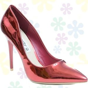 Metallic Red Classic Pointy Toe High Heel Pumps
